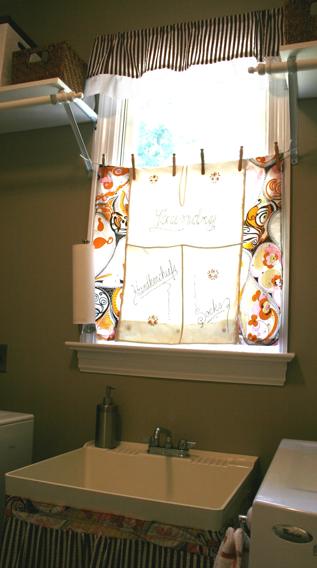 Sewing and crafts laundry room curtain and valance